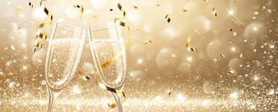 Glasses of champagne with confetti. Glasses of champagne on light background with confetti. Vector illustration Stock Photography