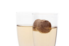 Glasses of champagne with cork Stock Images