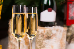 Glasses of Champagne on Elegant Flute Glasses Stock Image