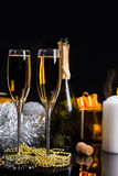 Glasses of Champagne in Festive Still Life Stock Photos