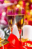 Glasses of Champagne in Festive Still Life Royalty Free Stock Photography
