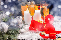 Glasses of Champagne in Festive Still Life Royalty Free Stock Image