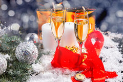 Glasses of Champagne in Festive Still Life Stock Images