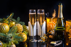 Glasses of Champagne in Festive Still Life Royalty Free Stock Photos