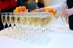 Glasses of champagne on festive table stock photography