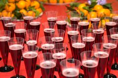 Glasses with champagne and fruit Royalty Free Stock Image