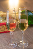 Glasses of champagne with gift box Royalty Free Stock Images