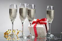 Glasses of champagne , gifts Stock Photo