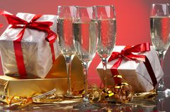 Glasses of champagne , gifts Stock Photography