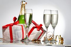 Glasses of champagne , gifts Royalty Free Stock Photo