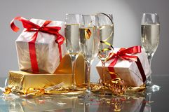 Glasses of champagne , gifts Royalty Free Stock Photography