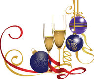 Glasses of champagne and glass balls, christmas at royalty free illustration