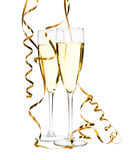 Glasses of champagne with gold ribbon. Entwined Stock Photos