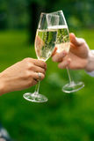 Glasses of champagne in hands. On the park background Stock Photography