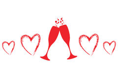 Glasses of champagne and a heart Royalty Free Stock Image