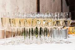 Glasses of champagne. Holiday decoration with glasses of champagne Stock Photo