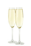 Glasses of champagne isolated on a white background Royalty Free Stock Images