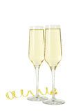 Glasses of champagne isolated on a white Royalty Free Stock Photos