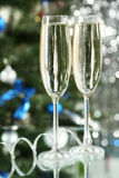 Glasses of champagne on a lights background, close up Stock Photos