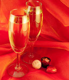 Glasses with champagne, a New Year Stock Images