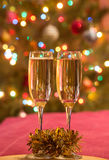 Champagne glasses on New Year's Eve. Merry christmas and a happy new year. ! royalty free stock image