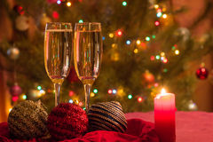 Champagne glasses on New Year's Eve. Merry christmas and a happy new year. ! royalty free stock photo