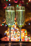 Champagne glasses on New Year's Eve. Merry christmas and a happy new year. ! stock photo