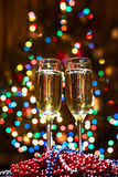 Champagne glasses on New Year's Eve. Merry christmas and a happy new year. ! royalty free stock images