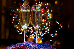 Champagne glasses on New Year's Eve. Merry christmas and a happy new year!. Champagne glasses on New Year's Eve. Merry christmas and a happy new year stock photography