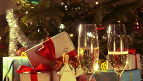 Glasses with champagne - New Year and Christmas decoration - 4 k stock video