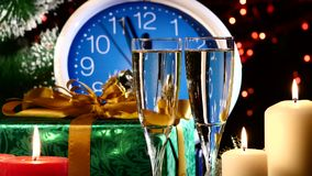 Glasses with champagne on New Year Eve against stock video
