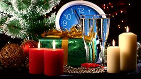 Glasses with champagne on New Year Eve against stock footage