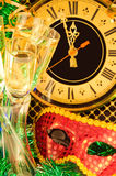 Glasses of champagne on New Year's Eve Royalty Free Stock Photos