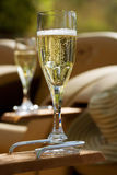 Glasses of Champagne outdoors Stock Image