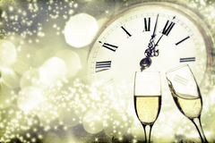 Glasses with champagne over holiday background Stock Photo