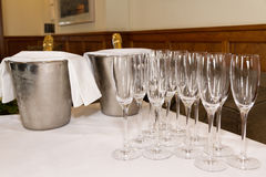 Glasses and champagne prepared for toast. Wedding marriage. Royalty Free Stock Photos