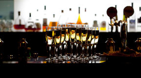 Glasses of champagne in the restaurant Stock Image