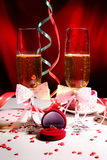 Glasses of champagne and ring Royalty Free Stock Photos