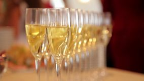 Glasses with champagne in a row on the table. Glasses with champagne in a row on the table in the restaurant stock video footage
