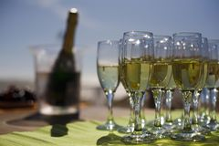 Glasses with champagne. Shallow depth of field Stock Photos