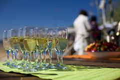 Glasses with champagne. Shallow depth of field Stock Photography