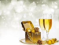 Glasses of champagne on sparkling holiday background with fireworks. On the sky stock photos