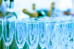 Glasses for the champagne sparkling wine. Celebration party concept. royalty free stock image