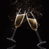 Glasses of champagne with splash Stock Photo