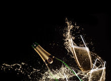 Glasses of champagne with splash Royalty Free Stock Images