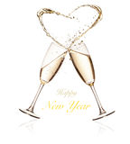 Glasses of champagne with splashing heart on white. Glasses of champagne with splashing heart, isolated on white background royalty free stock image