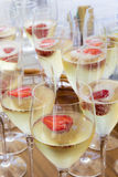 Glasses of champagne with strawberries Stock Photo