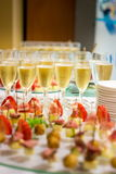 Glasses of champagne and strawberries Stock Image