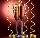 Glasses of champagne and streamer Stock Photo