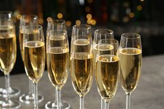 Glasses of champagne on table royalty free stock images